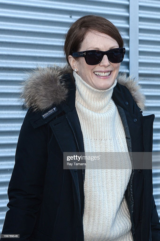 Actress <a gi-track='captionPersonalityLinkClicked' href=/galleries/search?phrase=Julianne+Moore&family=editorial&specificpeople=171555 ng-click='$event.stopPropagation()'>Julianne Moore</a> walks in Park City on January 19, 2013 in Park City, Utah.