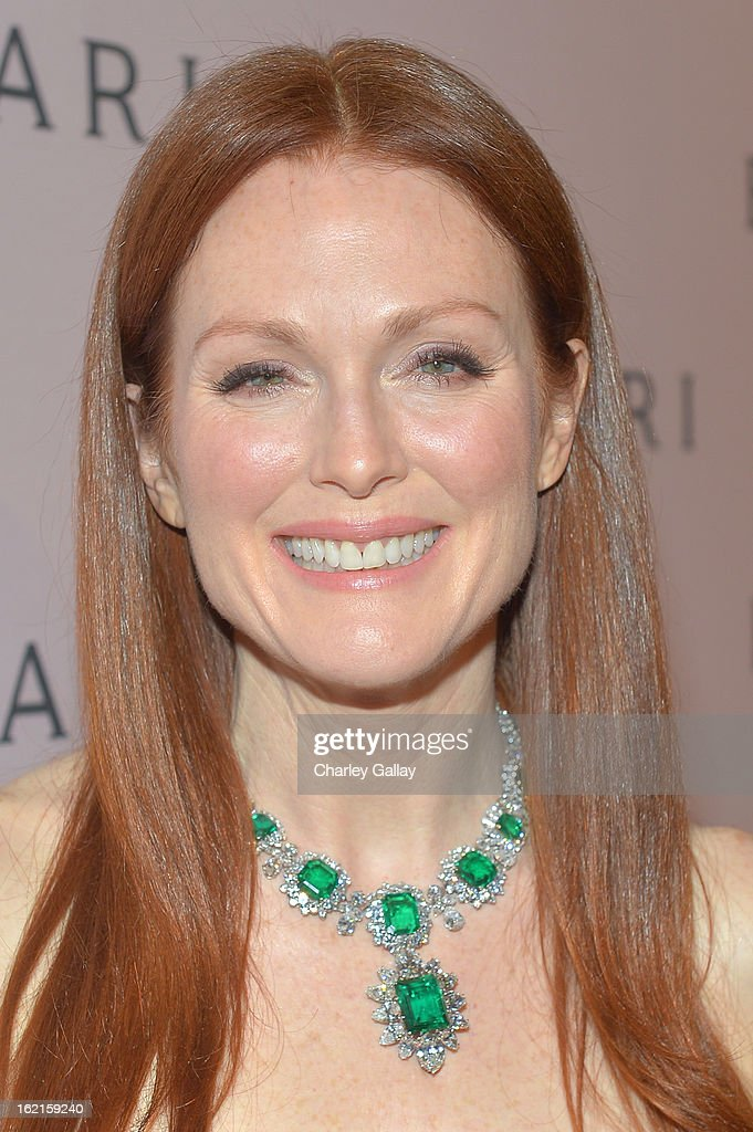 Actress <a gi-track='captionPersonalityLinkClicked' href=/galleries/search?phrase=Julianne+Moore&family=editorial&specificpeople=171555 ng-click='$event.stopPropagation()'>Julianne Moore</a>, wearing BVLGARI, arrives at the BVLGARI celebration of Elizabeth Taylor's collection of BVLGARI jewelry at BVLGARI Beverly Hills on February 19, 2013 in Los Angeles, California.