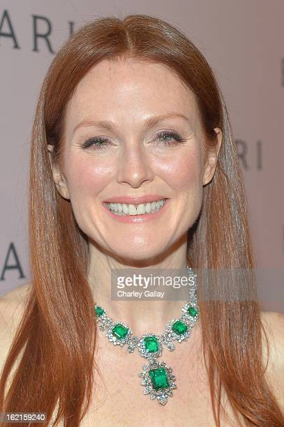 Actress Julianne Moore wearing BVLGARI arrives at the BVLGARI celebration of Elizabeth Taylor's collection of BVLGARI jewelry at BVLGARI Beverly...