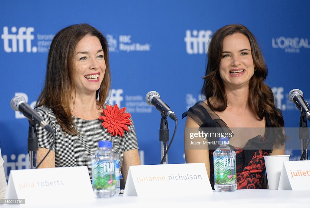 Actress Julianne Nicholson and actress Juliette Lewis speak onstage at 'August: Osage County' Press Conference during the 2013 Toronto International Film Festival at TIFF Bell Lightbox on September 10, 2013 in Toronto, Canada.