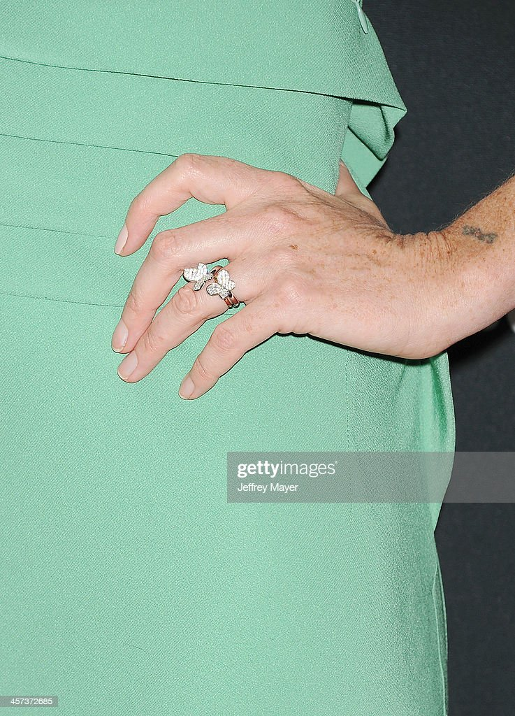 Actress <a gi-track='captionPersonalityLinkClicked' href=/galleries/search?phrase=Julianne+Nicholson&family=editorial&specificpeople=757237 ng-click='$event.stopPropagation()'>Julianne Nicholson</a> (ring detail) at the 'August: Osage County' - Los Angeles Premiere at Regal Cinemas L.A. Live on December 16, 2013 in Los Angeles, California.