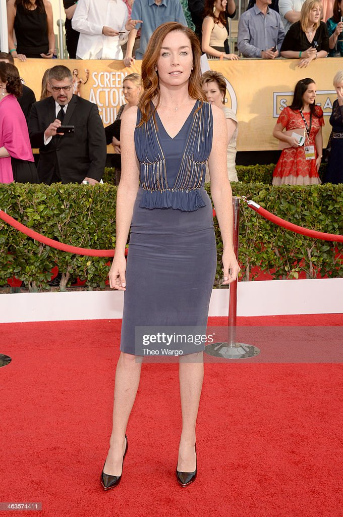 Actress <a gi-track='captionPersonalityLinkClicked' href=/galleries/search?phrase=Julianne+Nicholson&family=editorial&specificpeople=757237 ng-click='$event.stopPropagation()'>Julianne Nicholson</a> attends 20th Annual Screen Actors Guild Awards at The Shrine Auditorium on January 18, 2014 in Los Angeles, California.