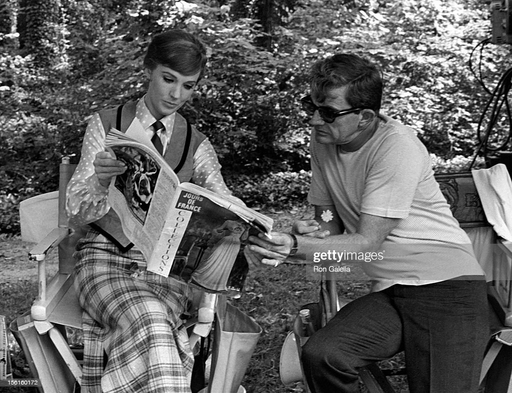 Actress Julie Andrews and director Blake Edwards sighted on location filming 'Darling Lili' on September 27, 1968 in Paris, France.