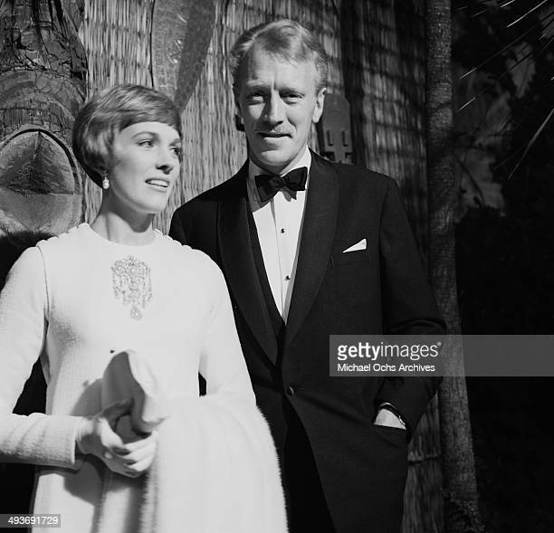Actress Julie Andrews attends a party with actor Max von Sydow in Los Angeles California