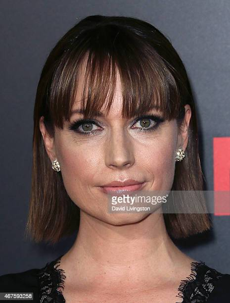 Actress Julie Ann Emery attends the AMC celebration of the final 7 episodes of 'Mad Men' with The Black Red Ball at the Dorothy Chandler Pavilion on...