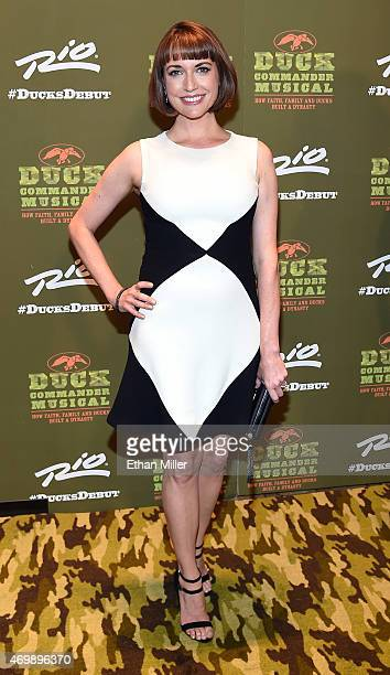 Actress Julie Ann Emery attends the 'Duck Commander Musical' premiere at the Crown Theater at the Rio Hotel Casino on April 15 2015 in Las Vegas...