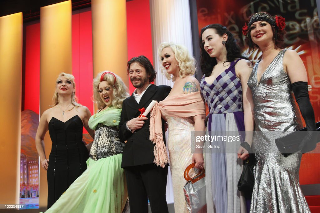 Actress Julie Atlas Muz, actress Dirty Martini, winner of the award for Best Director Mathieu Amalric, actress Mimi Le Meaux, actress Evie Lovelle and actress Kitten on the Keys attend the Palme d'Or Award Ceremony held at the Palais des Festivals during the 63rd Annual Cannes Film Festival on May 23, 2010 in Cannes, France.