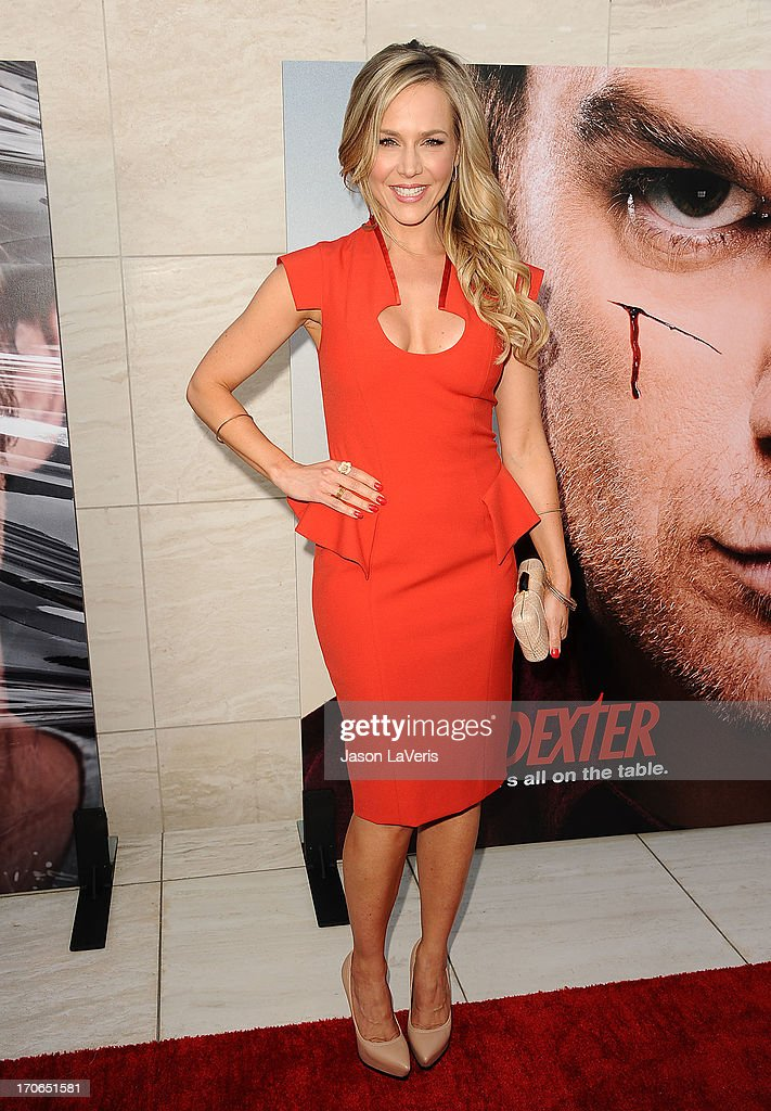 Actress <a gi-track='captionPersonalityLinkClicked' href=/galleries/search?phrase=Julie+Benz&family=editorial&specificpeople=217554 ng-click='$event.stopPropagation()'>Julie Benz</a> attends the 'Dexter' series finale season premiere party at Milk Studios on June 15, 2013 in Hollywood, California.