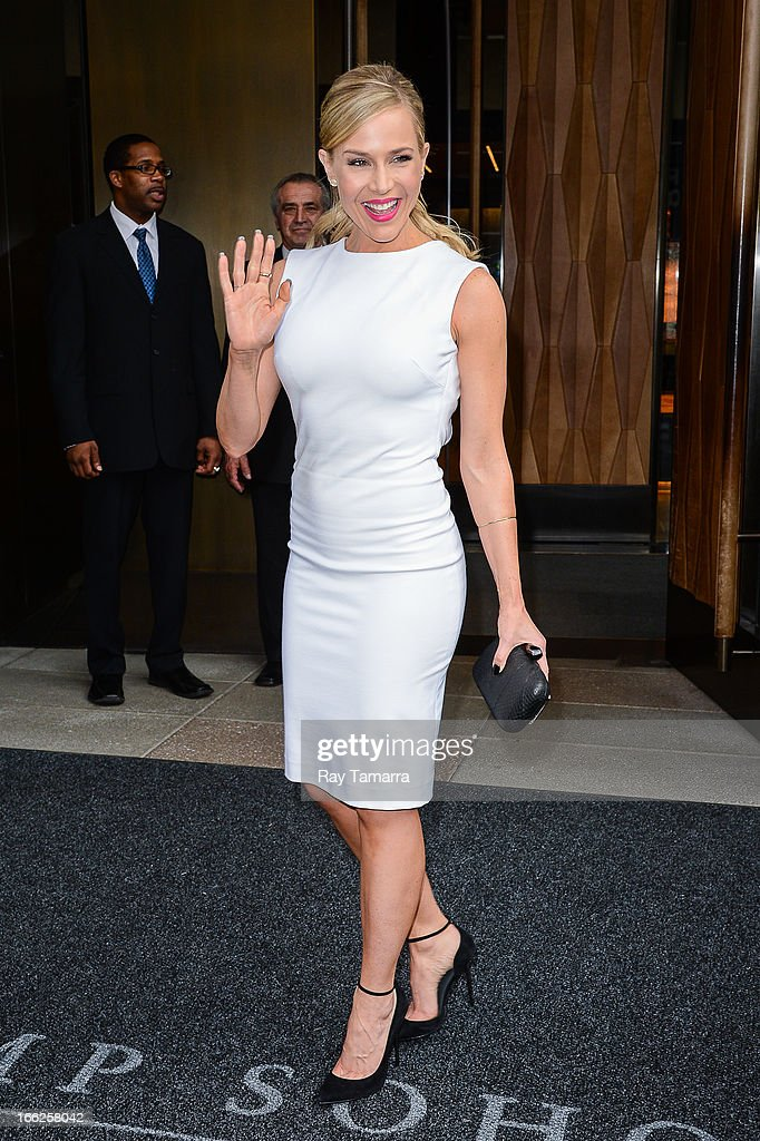 Actress Julie Benz leaves her Soho hotel on April 10, 2013 in New York City.