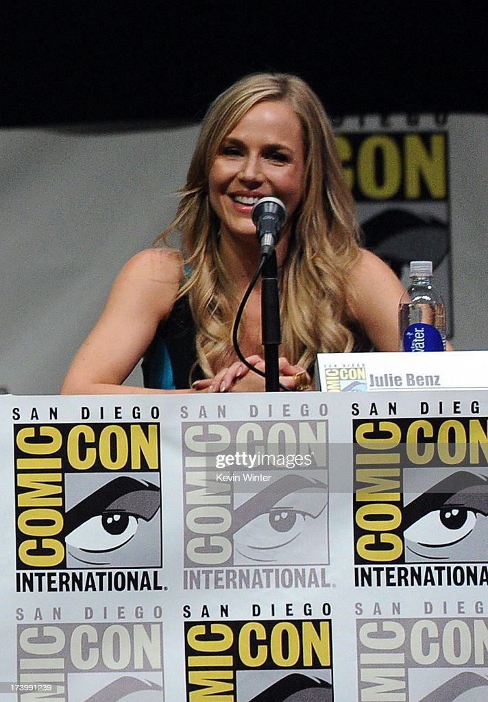 Actress Julie Benz speaks onstage at Showtime's 'Dexter' panel during ComicCon International 2013 at San Diego Convention Center on July 18 2013 in...
