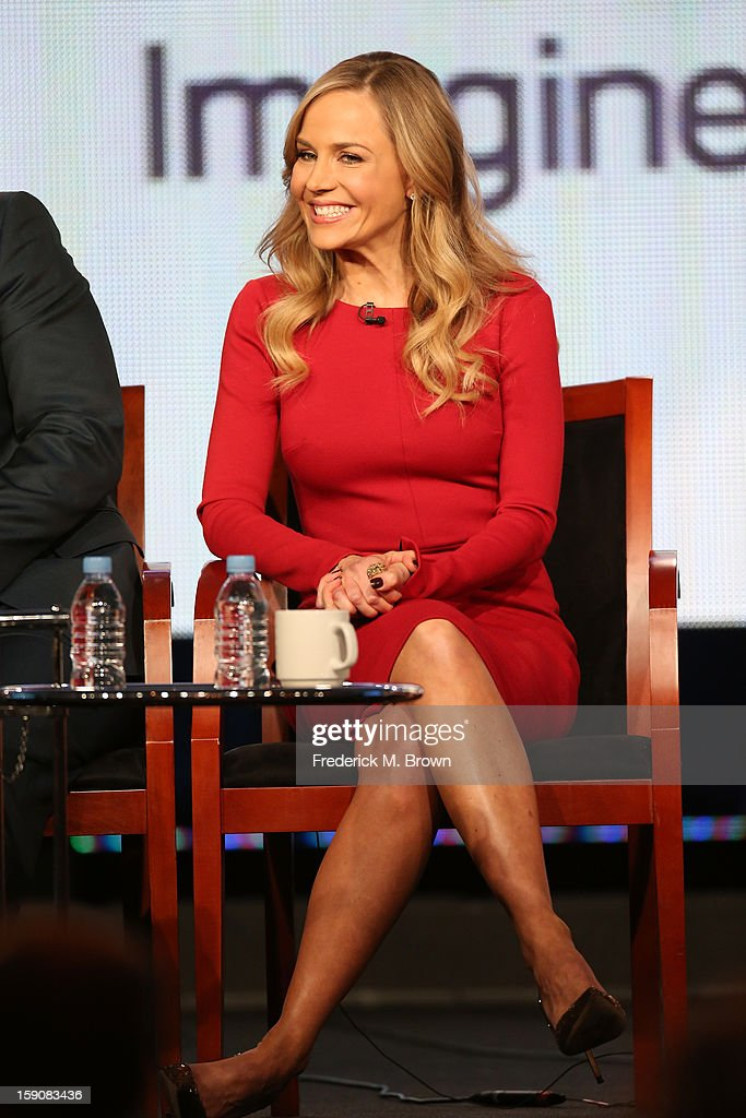 Actress Julie Benz speaks onstage at the 'Defiance' panel discussion during the Syfy portion of the 2013 Winter TCA Tour- Day 4 at the Langham Hotel on January 7, 2013 in Pasadena, California.