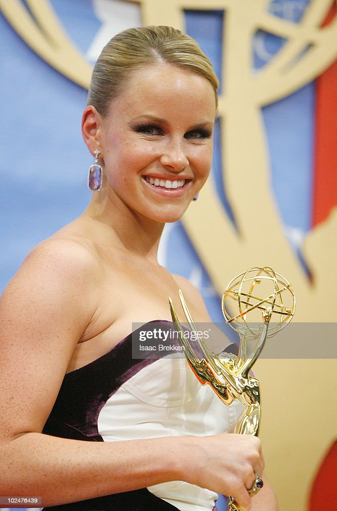 Actress <a gi-track='captionPersonalityLinkClicked' href=/galleries/search?phrase=Julie+Berman&family=editorial&specificpeople=867897 ng-click='$event.stopPropagation()'>Julie Berman</a> poses with the Outstanding Younger Actress Award in the trophy room at the 37th Annual Daytime Entertainment Emmy Awards held at the Las Vegas Hilton on June 27, 2010 in Las Vegas, Nevada.