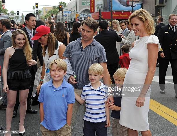 Actress Julie Bowen and family attend the premiere of Disney's 'Planes Fire Rescue' at the El Capitan Theatre on July 15 2014 in Hollywood California