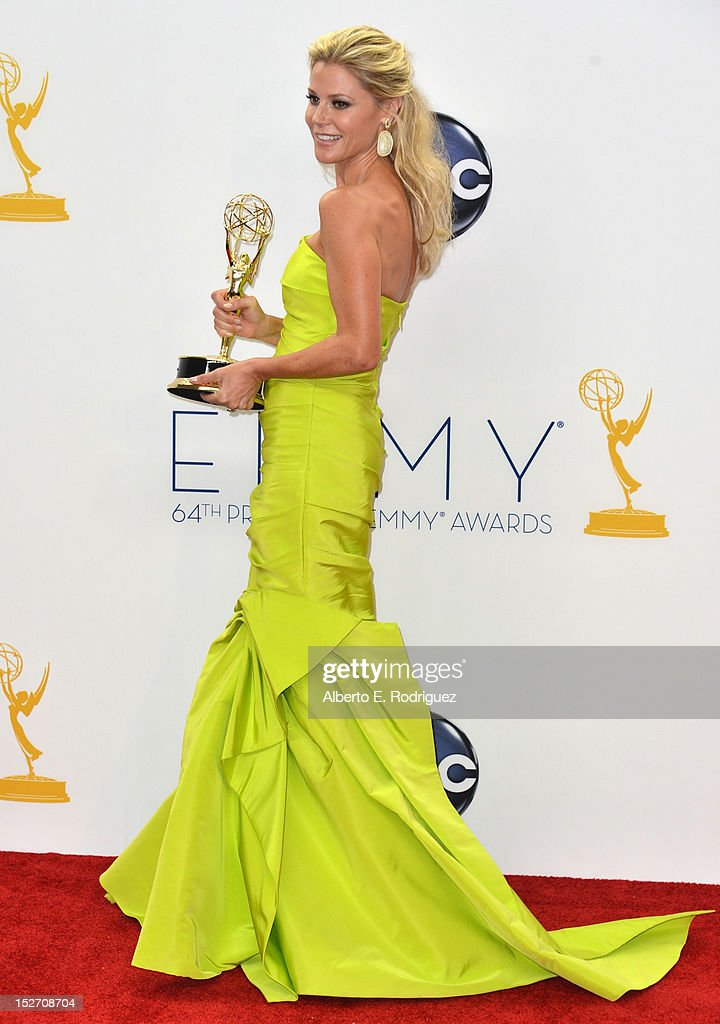 Actress Julie Bowen poses in the 64th Annual Emmy Awards press room at Nokia Theatre L.A. Live on September 23, 2012 in Los Angeles, California.