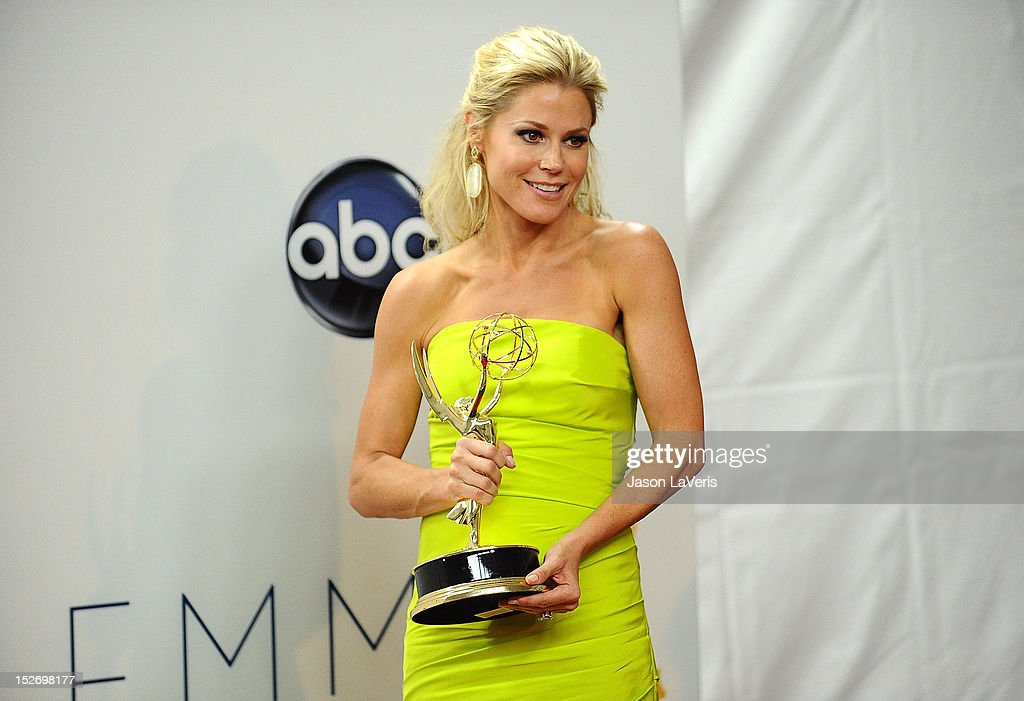 Actress <a gi-track='captionPersonalityLinkClicked' href=/galleries/search?phrase=Julie+Bowen&family=editorial&specificpeople=244057 ng-click='$event.stopPropagation()'>Julie Bowen</a> poses in the press room at the 64th Primetime Emmy Awards at Nokia Theatre L.A. Live on September 23, 2012 in Los Angeles, California.
