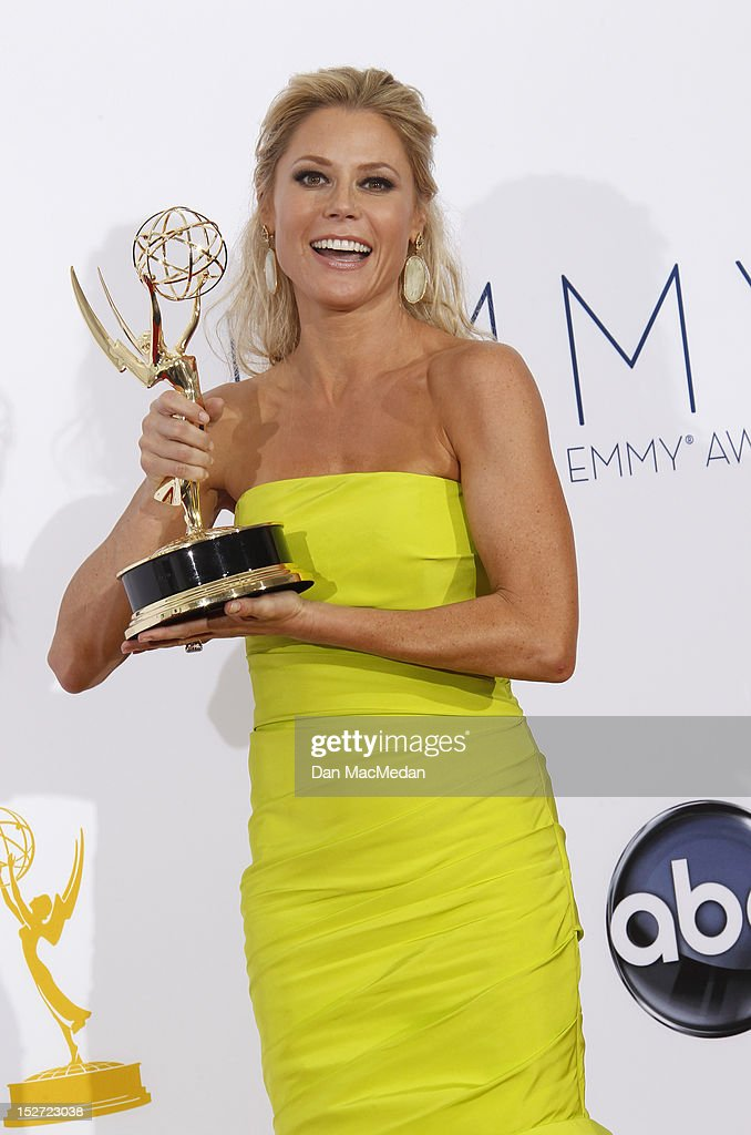 Actress <a gi-track='captionPersonalityLinkClicked' href=/galleries/search?phrase=Julie+Bowen&family=editorial&specificpeople=244057 ng-click='$event.stopPropagation()'>Julie Bowen</a> poses in the press room at the 64th Primetime Emmy Awards held at Nokia Theatre L.A. Live on September 23, 2012 in Los Angeles, California.