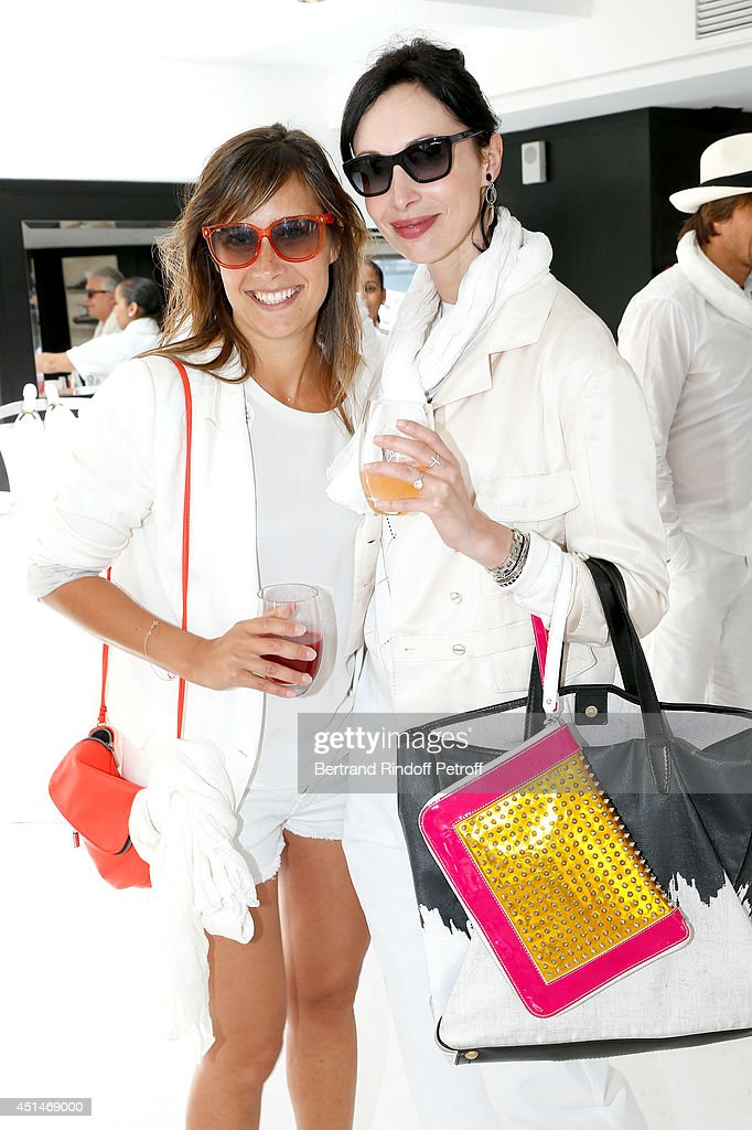 Actress Julie de Bona and director Geraldine Maillet attend the 'Brunch Blanc' hosted by Barriere Group. Held on Yacht 'Excellence' on June 29, 2014 in Paris, France.