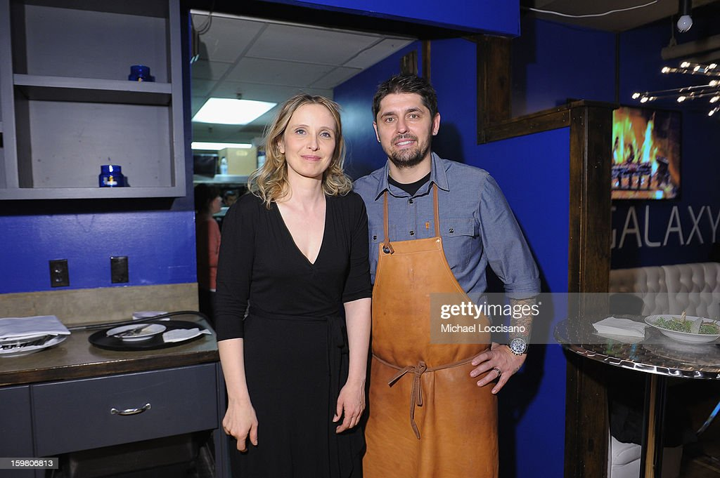 Actress <a gi-track='captionPersonalityLinkClicked' href=/galleries/search?phrase=Julie+Delpy&family=editorial&specificpeople=201914 ng-click='$event.stopPropagation()'>Julie Delpy</a> and chef <a gi-track='captionPersonalityLinkClicked' href=/galleries/search?phrase=Ludo+Lefebvre&family=editorial&specificpeople=6389852 ng-click='$event.stopPropagation()'>Ludo Lefebvre</a> attend the Before Midnight Premiere Cocktail Party at The Samsung Galaxy Lounge at Village At The Lift on January 20, 2013 in Park City, Utah.