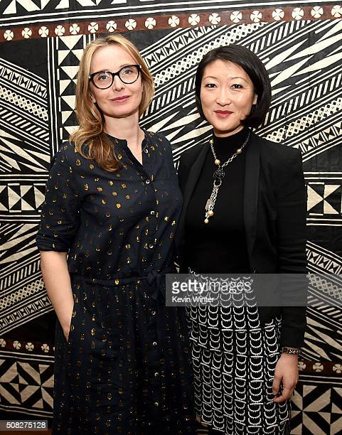 Actress Julie Delpy and Mme Fleur Pellerin French Minister of Culture and Communications pose at La Residence de France on February 3 2016 in Beverly...