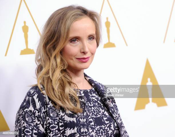 Actress Julie Delpy attends the 86th Academy Awards nominee luncheon at The Beverly Hilton Hotel on February 10 2014 in Beverly Hills California
