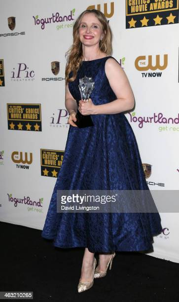 Actress Julie Delpy attends the press room at the 19th Annual Critics' Choice Movie Awards at Barker Hangar on January 16 2014 in Santa Monica...