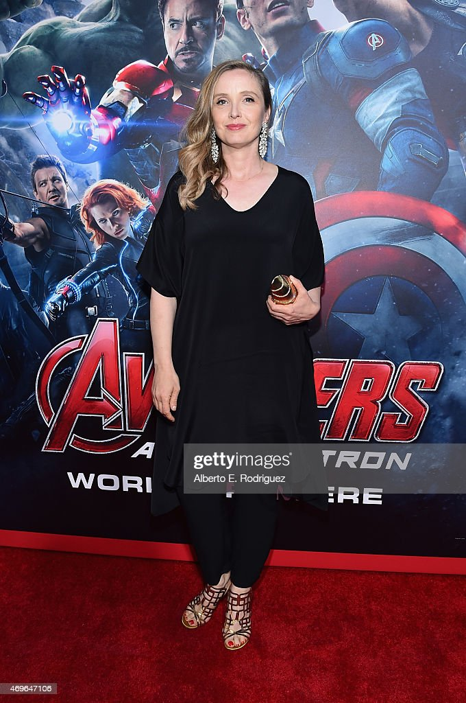 Actress <a gi-track='captionPersonalityLinkClicked' href=/galleries/search?phrase=Julie+Delpy&family=editorial&specificpeople=201914 ng-click='$event.stopPropagation()'>Julie Delpy</a> attends the world premiere of Marvel's 'Avengers: Age Of Ultron' at the Dolby Theatre on April 13, 2015 in Hollywood, California.