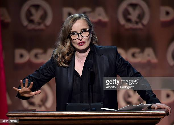 Actress Julie Delpy speaks onstage at the 67th Annual Directors Guild Of America Awards at the Hyatt Regency Century Plaza on February 7 2015 in...