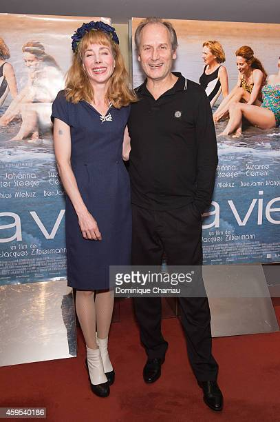 Actress Julie Depardieu and Actor Hippolyte Girardot attend the 'A La Vie' Paris Premiere at UGC Cine Cite des Halles on November 24 2014 in Paris...