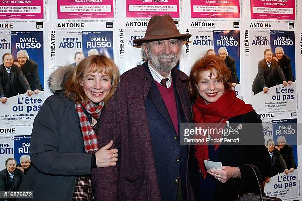 Actress Julie Depardieu Jean Pierre Marielle and his wife Agathe Natanson attend the 'L'Etre ou pas' Theater play at Theatre Antoine on March 21 2016...