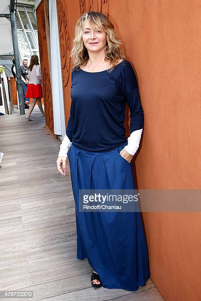 Actress Julie Ferrier attends the 2015 Roland Garros French Tennis Open Day Eleven on June 3 2015 in Paris France