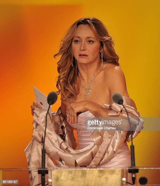 Actress Julie Ferrier on stage during the show at the Cesar Film Awards held at the Chatelet Theater on February 27 2009 in Paris