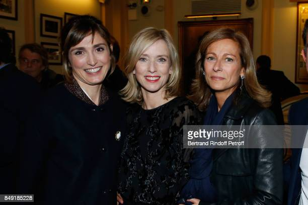Actress Julie Gayet actress of the piece Lea Drucker and violonist Anne Gravoin attend 'La vraie vie' Theater Play at Theatre Edouard VII on...