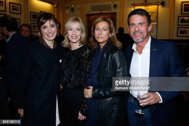 Actress Julie Gayet actress of the piece Lea Drucker volonist Anne Gravoin and her husband politician Manuel Valls attend 'La vraie vie' Theater Play...