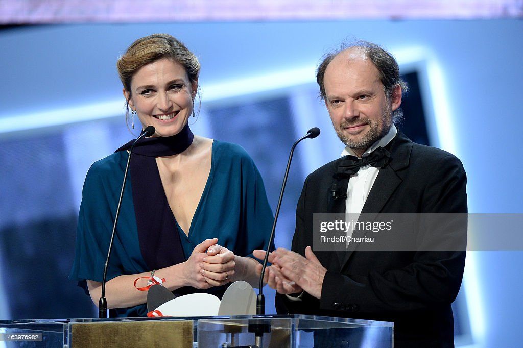 Actress Julie Gayet and (R) actor Denis Podalydes attend the 40th Cesar Film Awards 2015 Ceremony at Theatre du Chatelet on February 20, 2015 in Paris, France.