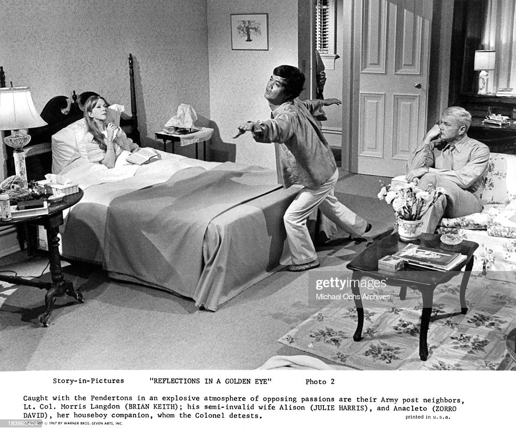 Actress <a gi-track='captionPersonalityLinkClicked' href=/galleries/search?phrase=Julie+Harris+-+Actress&family=editorial&specificpeople=14645339 ng-click='$event.stopPropagation()'>Julie Harris</a>, actors Zorro David and <a gi-track='captionPersonalityLinkClicked' href=/galleries/search?phrase=Brian+Keith&family=editorial&specificpeople=1545832 ng-click='$event.stopPropagation()'>Brian Keith</a> on set of the Warner Bros. movie 'Reflections in a Golden Eye' in 1967.