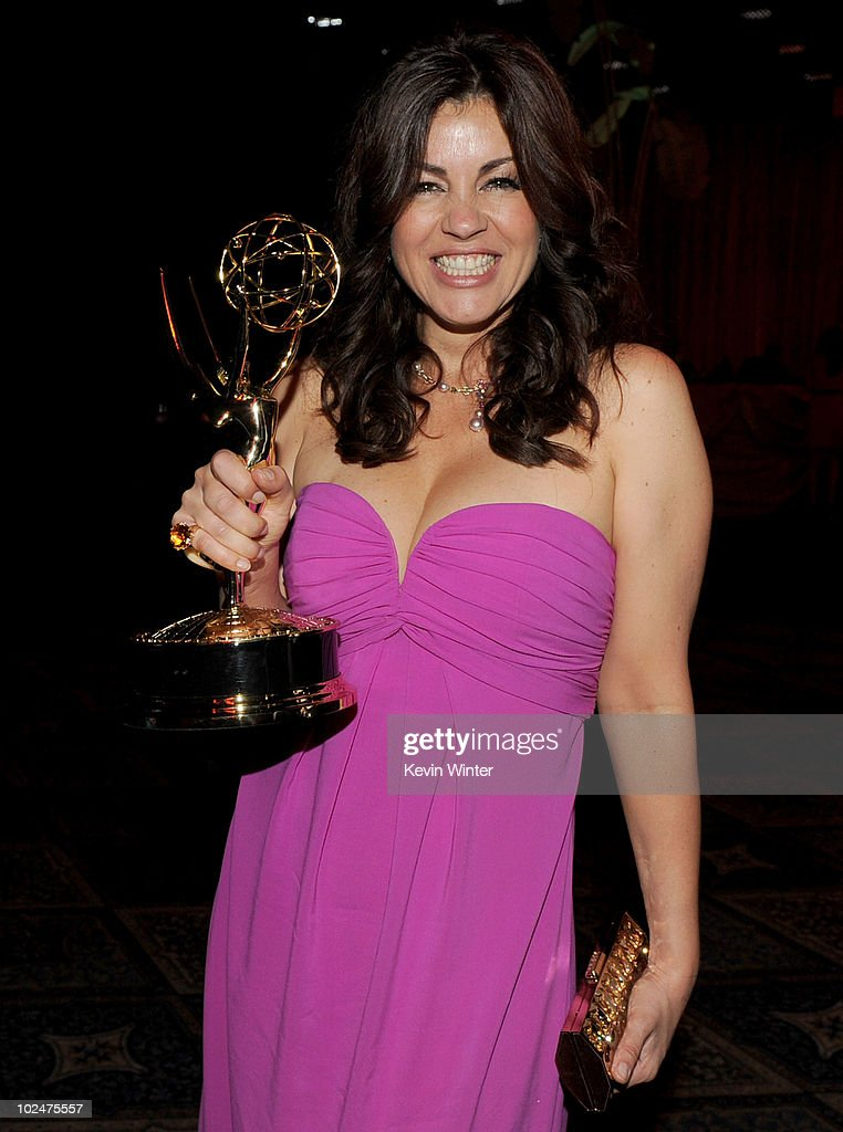Actress <a gi-track='captionPersonalityLinkClicked' href=/galleries/search?phrase=Julie+Pinson&family=editorial&specificpeople=665355 ng-click='$event.stopPropagation()'>Julie Pinson</a> poses for a portrait with the Outstanding Supporting Actress Award backstage at the 37th Annual Daytime Entertainment Emmy Awards held at the Las Vegas Hilton on June 27, 2010 in Las Vegas, Nevada.