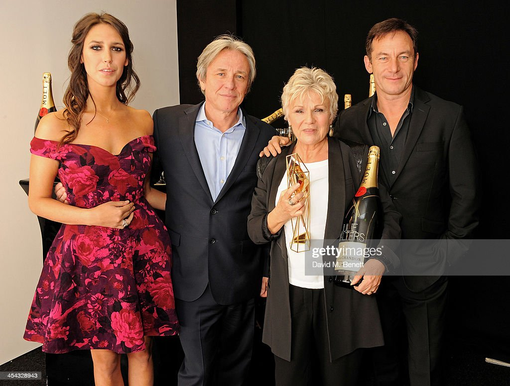 Actress <a gi-track='captionPersonalityLinkClicked' href=/galleries/search?phrase=Julie+Walters&family=editorial&specificpeople=206570 ng-click='$event.stopPropagation()'>Julie Walters</a> (2R), winner of the Richard Harris Award, poses with presenters Ella Harris, Damian Harris and <a gi-track='captionPersonalityLinkClicked' href=/galleries/search?phrase=Jason+Isaacs&family=editorial&specificpeople=212740 ng-click='$event.stopPropagation()'>Jason Isaacs</a> (R) backstage at the Moet British Independent Film Awards 2013 at Old Billingsgate Market on December 8, 2013 in London, England.