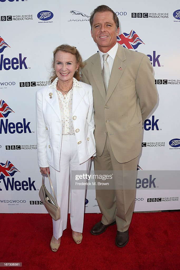 Actress Juliet Mills (L) and Max Caulfield attend the launch of the Seventh Annual Britweek Festival 'A Salute to Old Hollywood' on April 23, 2013 in Los Angeles, California.