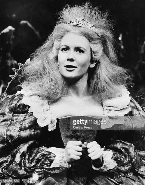Actress Juliet Mills in costume as 'Titania' during rehearsals for the play 'A Midsummer Night's Dream' at the Aldwych Theatre London June 13th 1963