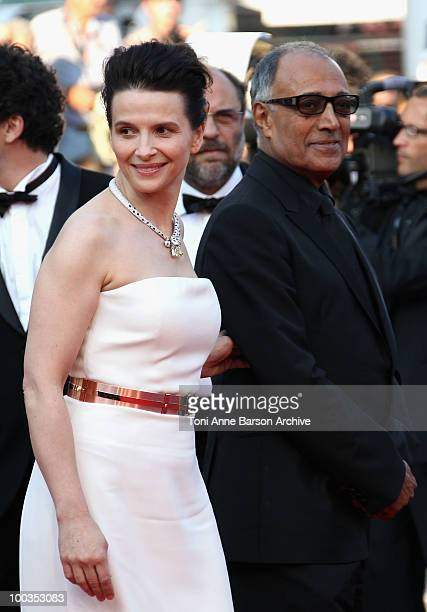Actress Juliette Binoche and Abbas Kiarostami attend the Palme d'Or Closing Ceremony held at the Palais des Festivals during the 63rd Annual...