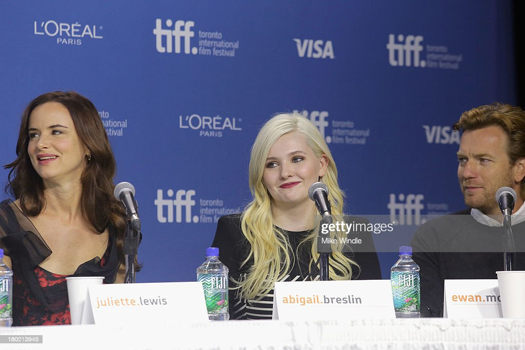 Actress Juliette Lewis, actress Abigail Breslin and actor Ewan McGrego speak onstage at 'August: Osage County' Press Conference during the 2013 Toronto International Film Festival at TIFF Bell Lightbox on September 10, 2013 in Toronto, Canada.