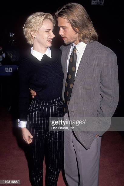 Actress Juliette Lewis and actor Brad Pitt attend 'A River Runs Through It' New York City Premiere on October 8 1991 at the Ziegfeld Theater in New...