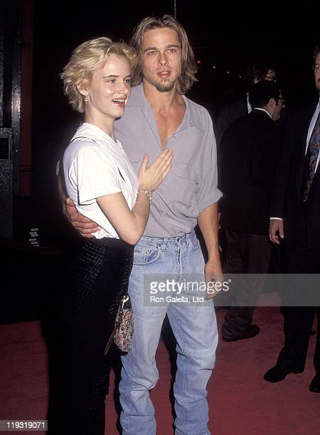 Actress Juliette Lewis and actor Brad Pitt attend 'The Last of the Mohichans' Hollywood Premiere on September 24 1992 at Mann's Chinese Theatre in...