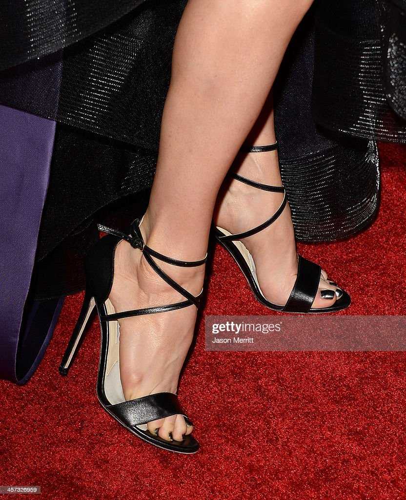 Actress Juliette Lewis (shoe detail) arrives at the premiere of The Weinstein Company's 'August: Osage County' at Regal Cinemas L.A. Live on December 16, 2013 in Los Angeles, California.