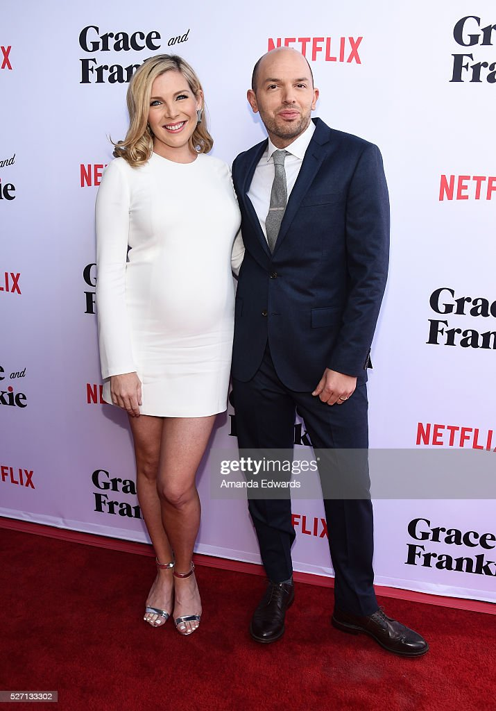 Actress June Diane Raphael (L) and actor Paul Scheer arrive at the Netflix Original Series 'Grace & Frankie' Season 2 premiere at the Harmony Gold Theater on May 1, 2016 in Los Angeles, California.