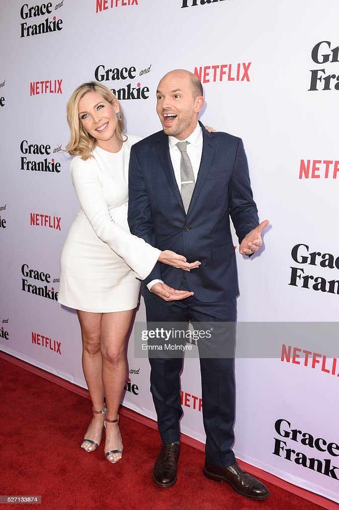 Actress <a gi-track='captionPersonalityLinkClicked' href=/galleries/search?phrase=June+Diane+Raphael&family=editorial&specificpeople=5923890 ng-click='$event.stopPropagation()'>June Diane Raphael</a> (L) and actor <a gi-track='captionPersonalityLinkClicked' href=/galleries/search?phrase=Paul+Scheer&family=editorial&specificpeople=805513 ng-click='$event.stopPropagation()'>Paul Scheer</a> arrive at the Netflix Original Series 'Grace & Frankie' Season 2 premiere at Harmony Gold on May 1, 2016 in Los Angeles, California.