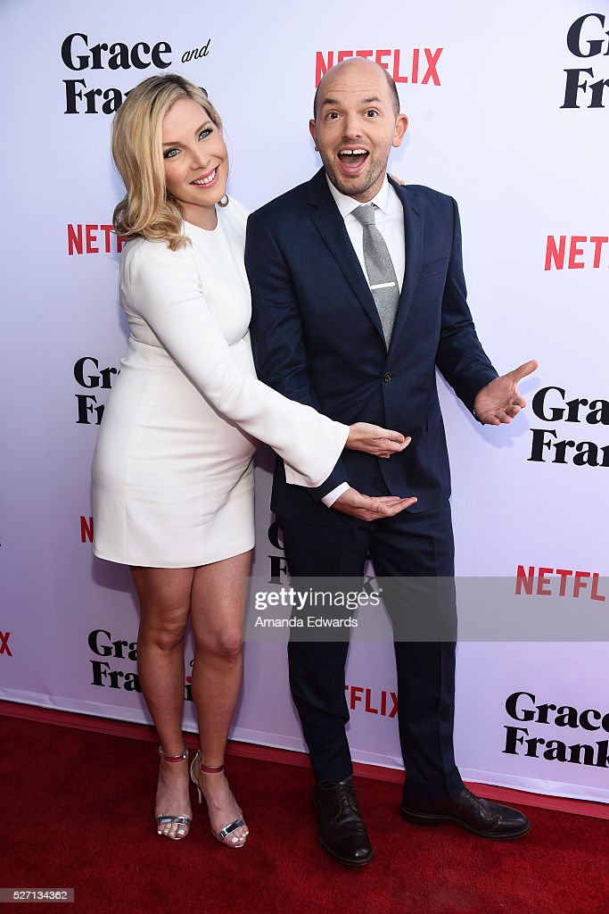 Actress <a gi-track='captionPersonalityLinkClicked' href=/galleries/search?phrase=June+Diane+Raphael&family=editorial&specificpeople=5923890 ng-click='$event.stopPropagation()'>June Diane Raphael</a> (L) and actor <a gi-track='captionPersonalityLinkClicked' href=/galleries/search?phrase=Paul+Scheer&family=editorial&specificpeople=805513 ng-click='$event.stopPropagation()'>Paul Scheer</a> arrive at the Netflix Original Series 'Grace & Frankie' Season 2 premiere at the Harmony Gold Theater on May 1, 2016 in Los Angeles, California.