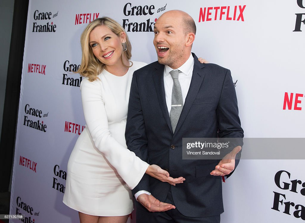 Actress <a gi-track='captionPersonalityLinkClicked' href=/galleries/search?phrase=June+Diane+Raphael&family=editorial&specificpeople=5923890 ng-click='$event.stopPropagation()'>June Diane Raphael</a> (L) and actor <a gi-track='captionPersonalityLinkClicked' href=/galleries/search?phrase=Paul+Scheer&family=editorial&specificpeople=805513 ng-click='$event.stopPropagation()'>Paul Scheer</a> attend Netflix Original Series 'Grace & Frankie' season 2 premiere at Harmony Gold on May 1, 2016 in Los Angeles, California.