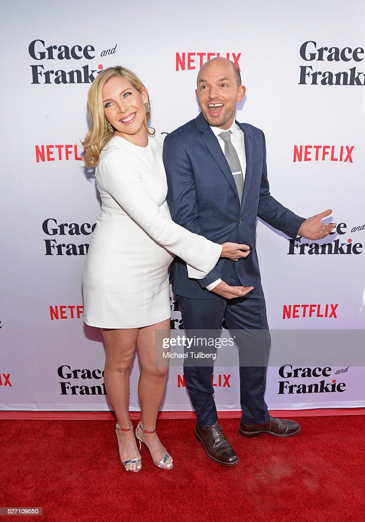 Actress June Diane Raphael and husband Paul Scheer attend the premiere of Season 2 of the Netflix Original Series 'Grace & Frankie' at Harmony Gold on May 1, 2016 in Los Angeles, California.
