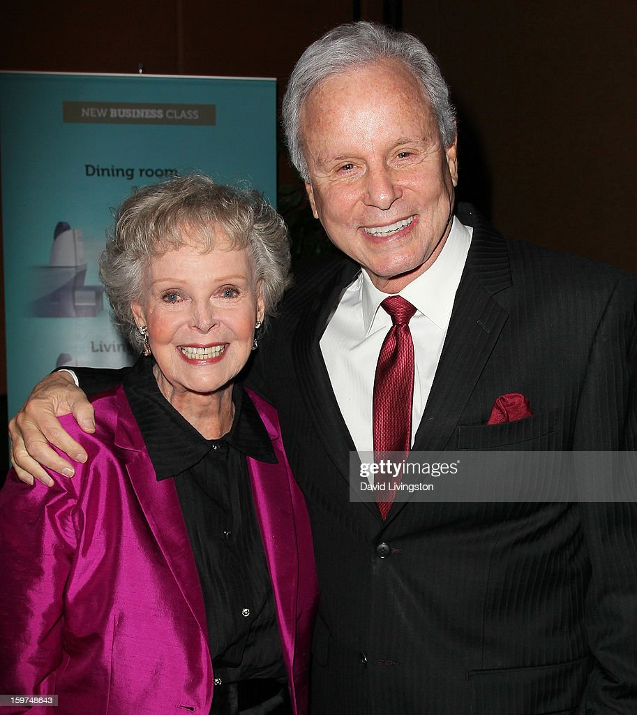 Actress June Lockhart (L) and Lifetime Achievement Award honoree TV personality Steve Edwards attend the Radio & Television News Association of Southern California's 63rd Annual Golden Mike Awards at Universal City Hilton & Towers on January 19, 2013 in Universal City, California.